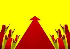 Six wavy arrows creeping along beside the flat red arrow yellow background.jpg Stock Photos