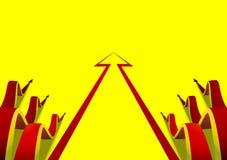 Six wavy arrows creeping along beside the flat yellow arrow Royalty Free Stock Photo
