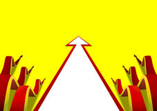 Six wavy arrows creeping forward some plain white arrow yellow background Stock Image