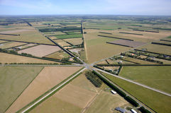 Six way intersection. Aerial of six way intersection, Canterbury, South Island, New Zealand Stock Image