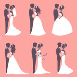Six wedding couples Stock Image