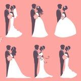 Six wedding couples Stock Image