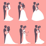 Six wedding couples Royalty Free Stock Photos