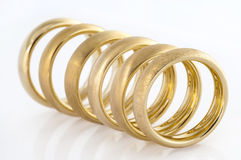 Six wedding rings in a line Stock Image
