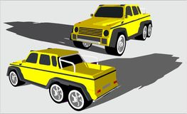 Large off-road vehicle with six wheels royalty free illustration