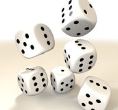 Six white casino dice Stock Images