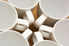 Six white cups Royalty Free Stock Photo