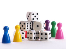 Six white dice Royalty Free Stock Image
