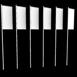 Six white vertical flags Stock Images