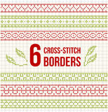 Six wide borders for cross-stitch embroidery Stock Photos