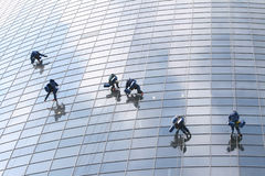 Six window washers Stock Photos