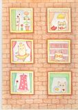Six windows about love. Author`s illustration in the style of children`s drawings, depicting the windows of the house with different characters about love Royalty Free Stock Image