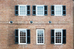 Six windows of an old american building Stock Photo