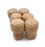 Six wine corks. Six wine corks isolated on white background Stock Image