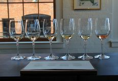 Free Six Wine Glasses Set Up In Tasting Room, Living Roots Winery, Rochester, New York, 2017 Royalty Free Stock Photo - 113615365