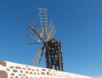 Six wing rectangular female windmill on the Canary Island. Stock Photography