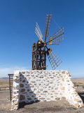 Six wing rectangular female windmill on the Canary Island. Royalty Free Stock Image