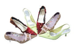 Six woman shoes Royalty Free Stock Images