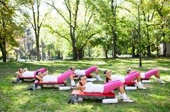 Six women exercising workout. Fitness aerobic exercise abdominals push ups, outdoor Stock Photo