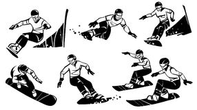 Six women snowboarders compete in slalom. Hand drawn illustration. Isolated over white background Royalty Free Stock Images