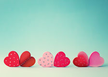 Six Wood Hearts Royalty Free Stock Images