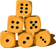 Six wood playing dices Royalty Free Stock Photography