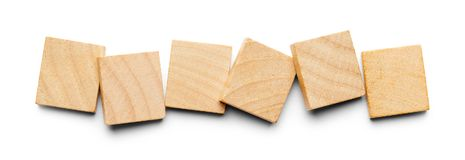 Six Wood Tiles. With Copy Space Isolated on a White Background Royalty Free Stock Images