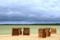 Six wooden baskets for sitting on the beach Royalty Free Stock Images