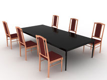 Six wooden chairs and black table Stock Photography