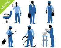 Six workers silhouettes Stock Images