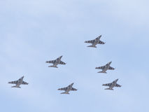 Six Yak-130 in the sky Royalty Free Stock Images