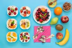 Six yaourts différents tout préparés et ingrédients Image stock