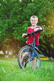 Six-year Boy looking for a pathway for biking Royalty Free Stock Photography