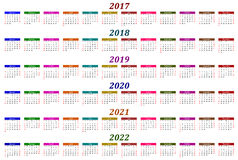 Six year calendar - 2017, 2018, 2019, 2020, 2021 and 2022 Royalty Free Stock Image