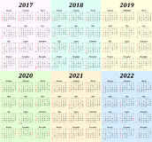 Six year calendar - 2017, 2018, 2019, 2020, 2021 and 2022 Stock Photo