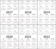 Six year calendar - 2017, 2018, 2019, 2020, 2021 and 2022 Royalty Free Stock Photography