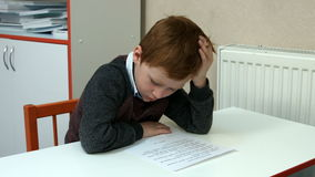 Six-year-old boy in class stock video