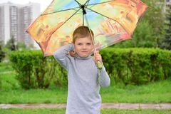 Six year old boy on a walk Stock Image