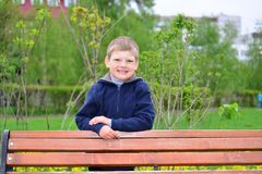 Six year old boy on a walk Royalty Free Stock Image