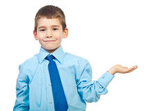 Six years old boy making presentation Royalty Free Stock Image