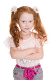 Six years old girl arms crossed Royalty Free Stock Photos