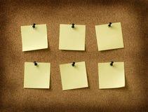 Six yellow notes royalty free stock photo
