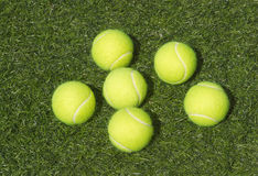 Six yellow tennis balls lays on grass Royalty Free Stock Photos