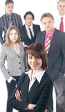 Six young business people are standing as a team Royalty Free Stock Image