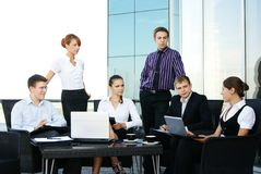 Six young business persons in formal clothes stock image