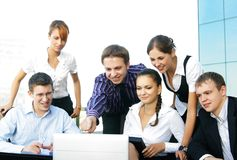 Six young businesspersons working together royalty free stock photography