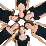 Six young women laying in circle Royalty Free Stock Photography