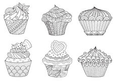 Six zendoodle cupcakes for design element. And adult or kids coloring book page for anti stress.Vector illustration Stock Photos