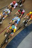 Sixday cycling series finals in palma velodrome vertical. Cyclists ride during their final race at the Sixday cycling event finals in Palmaarena velodrome in the stock images