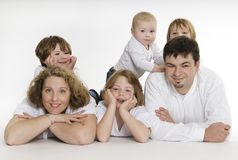 Sixpack. Happy family with four children Royalty Free Stock Photography